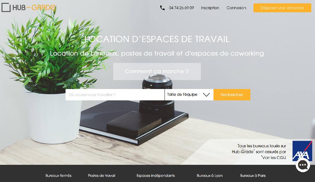 Homepage Hub-Grade, location de bureaux entre professionnels