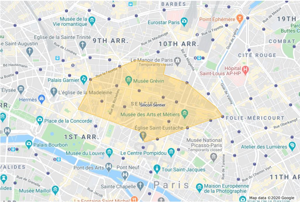 Silicon Sentier - Les limites de la zone en 2020